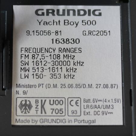 Grundig Yachtboy 500 typeplaatje